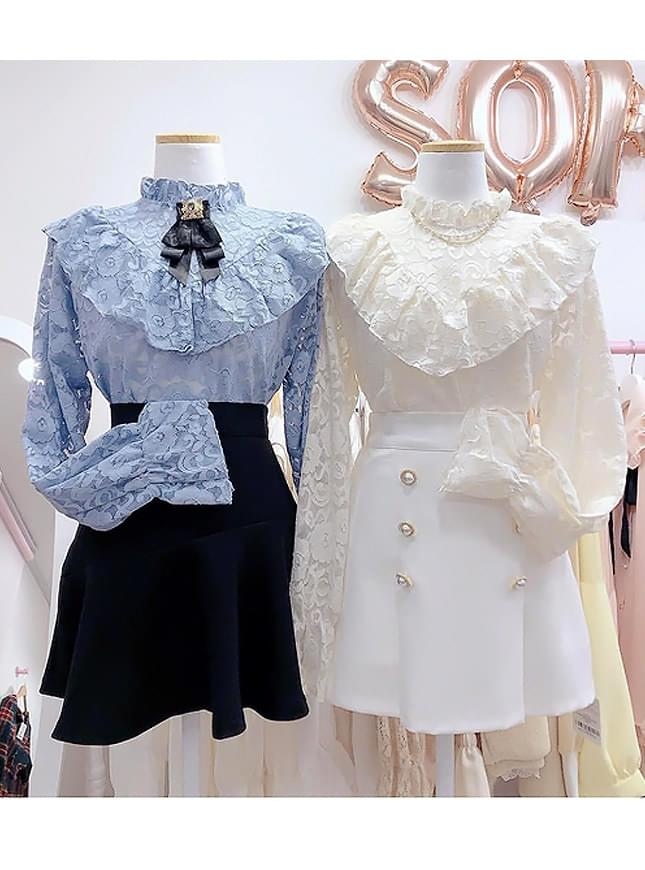 Store_Race V-see-through blouse