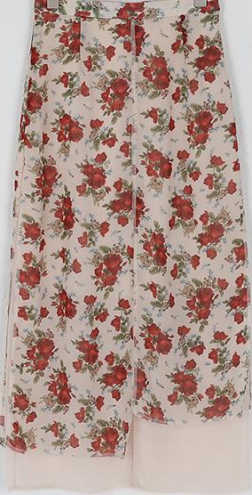 rose floor long skirt