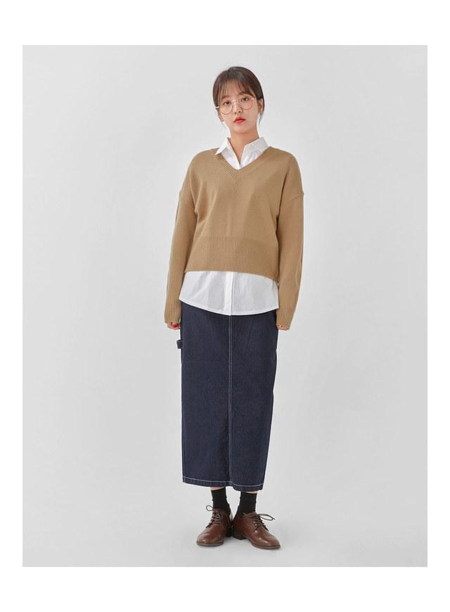 hazel crop v-neck knit