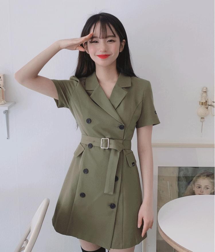 Lonely Logo Jacket Dress # Belt Set 洋裝