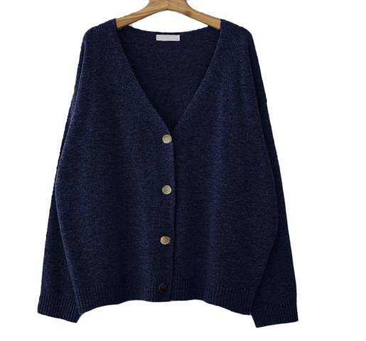Loose-fitting wool cardigan
