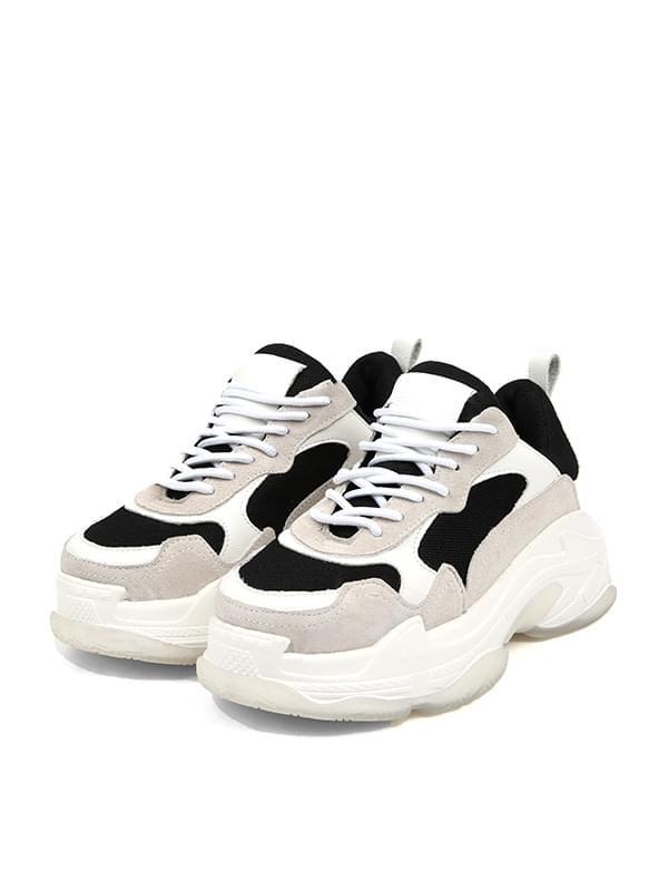 mix pattern platform sneakers