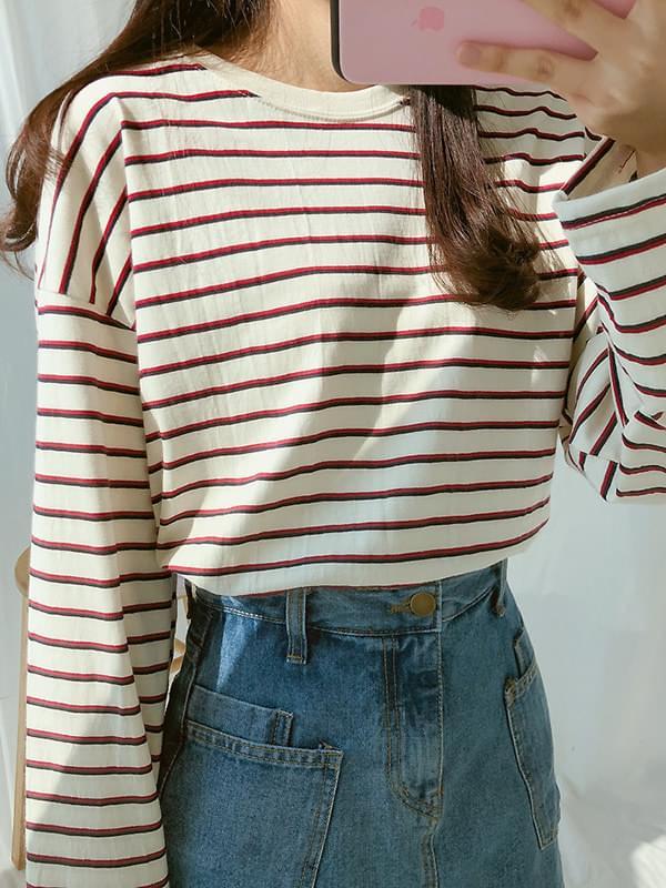 비니 마카 스트라이프 티셔츠 (t6015)