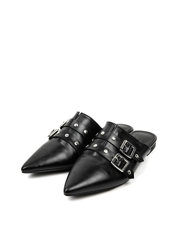 leather stud mule