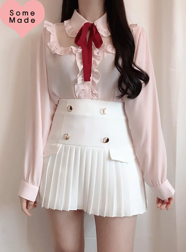 Same day delivery, self-made ♥ ribbon set Lady see-through blouse
