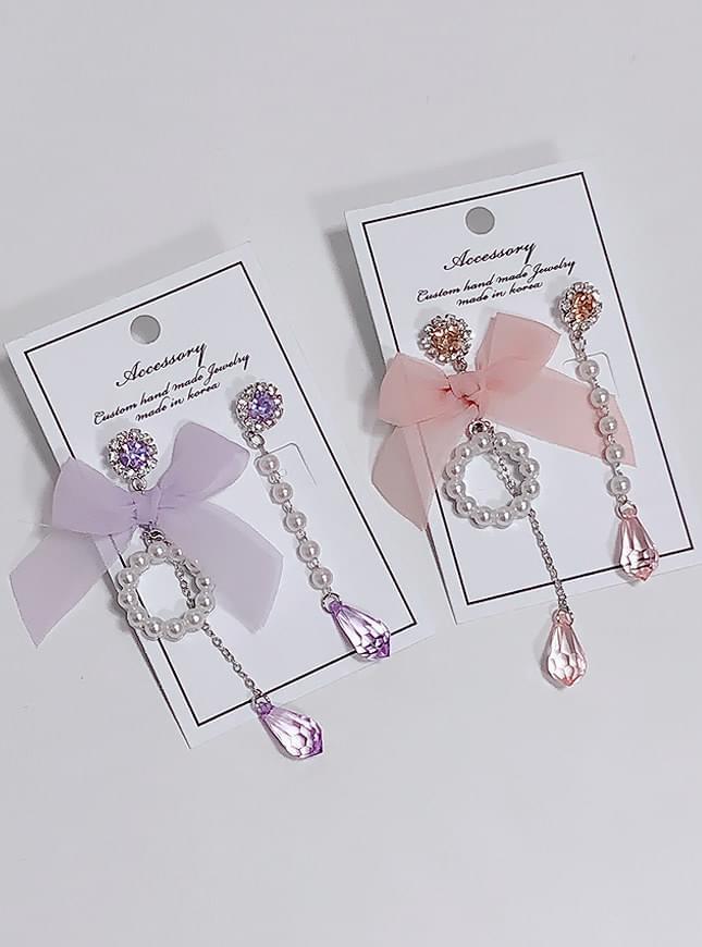 Coze pearl ribbon earrings