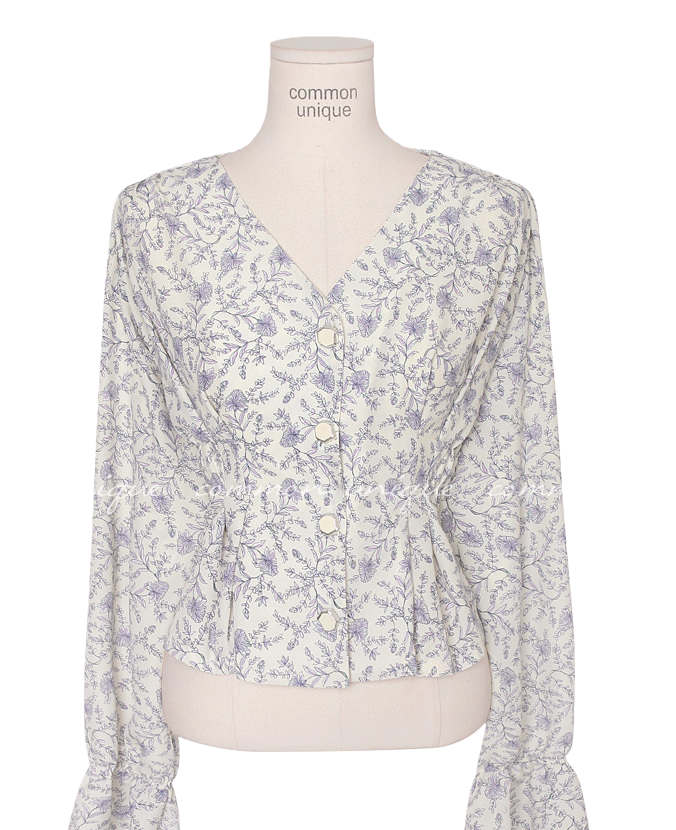 PURPLE FLOWER JEWELRY BLOUSE
