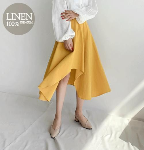 Minute linen flared skirt