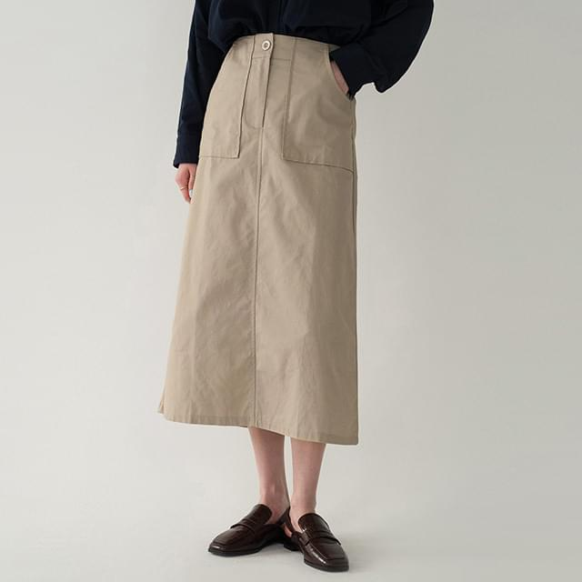 Semi-A Line Cotton Long Skirt-sk