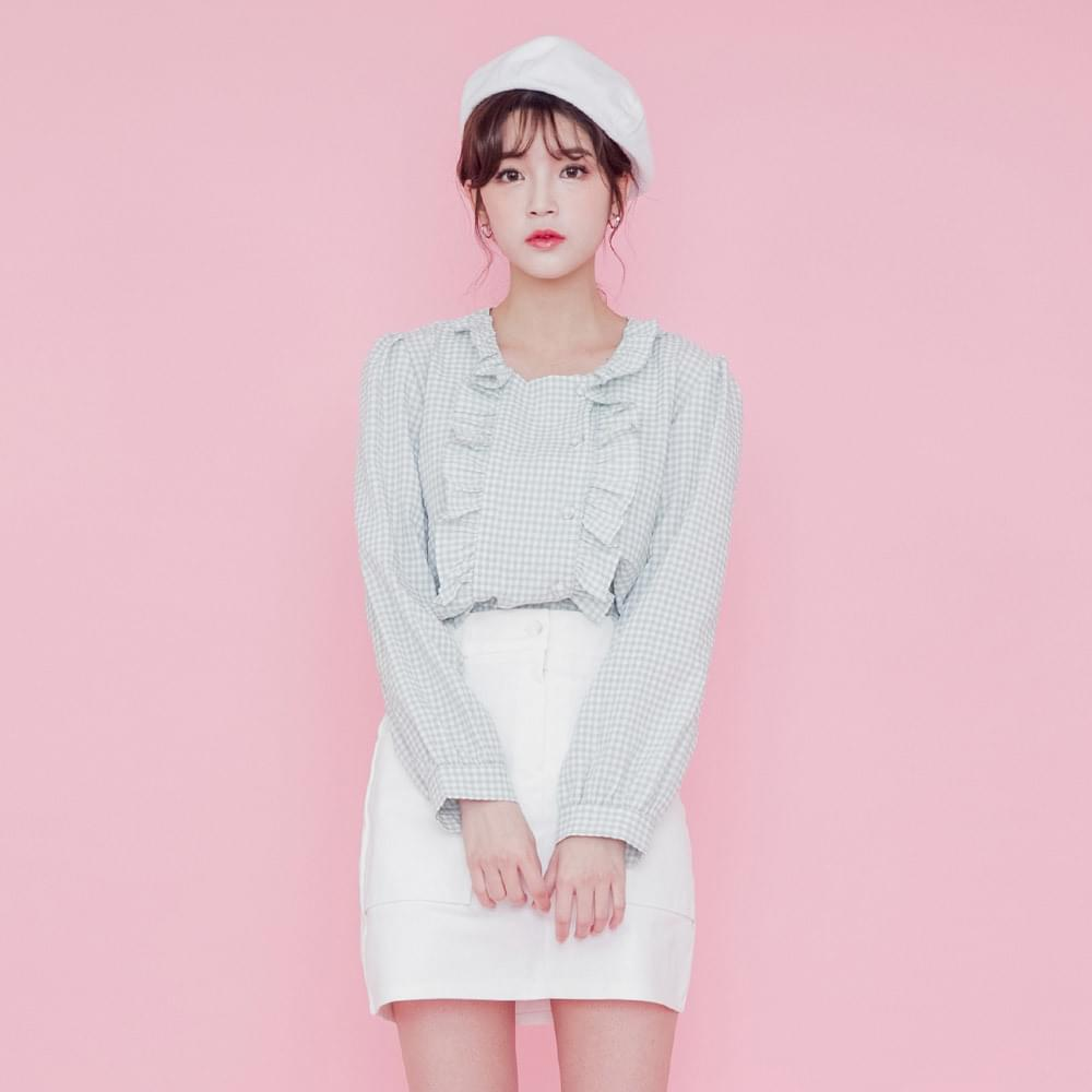 Bunny frilly check blouse