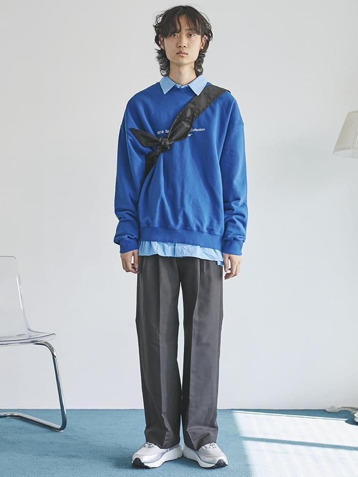 straight pintuck long cotton pants - men