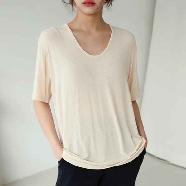 Pureness u-neck short-sleeved tee