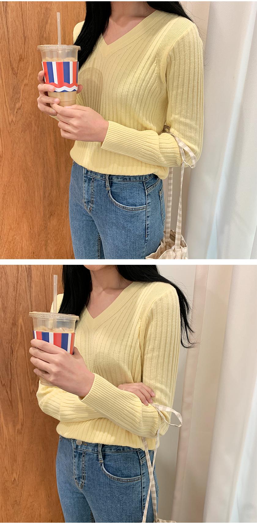 Slender v-neck golgi knit_B