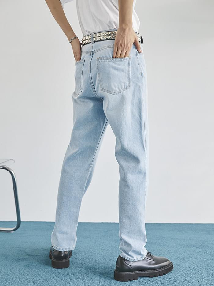 ice washing denim pants - men