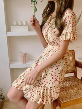 Chiffon bling heart wrap dress