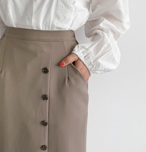 Non button pocket long skirt