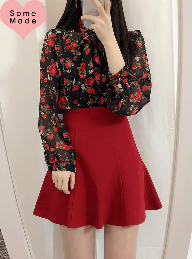 Self Made ♥ Berry Flower Ribbon blouse