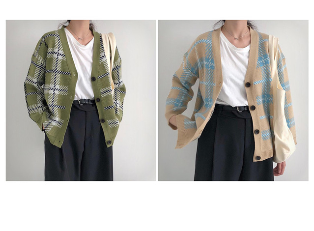 Checked knit cardigan