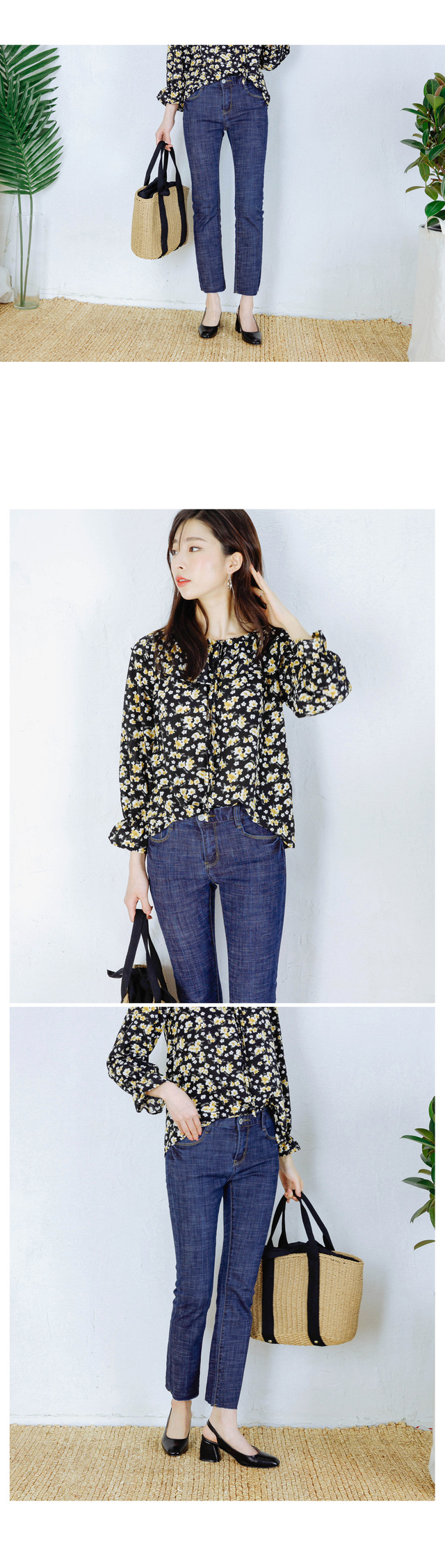 Flower off shoulder spring day blouse