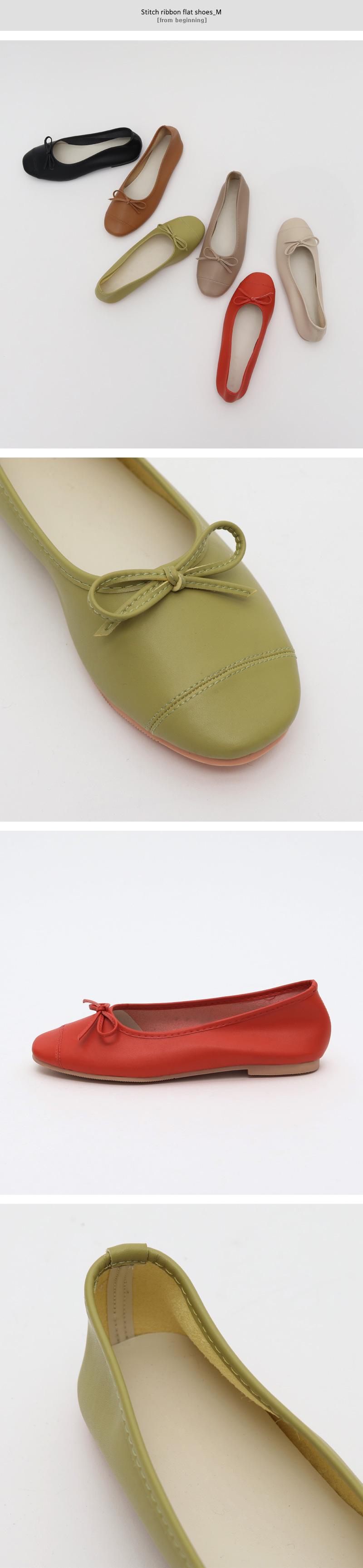 Stitch ribbon flat shoes_M