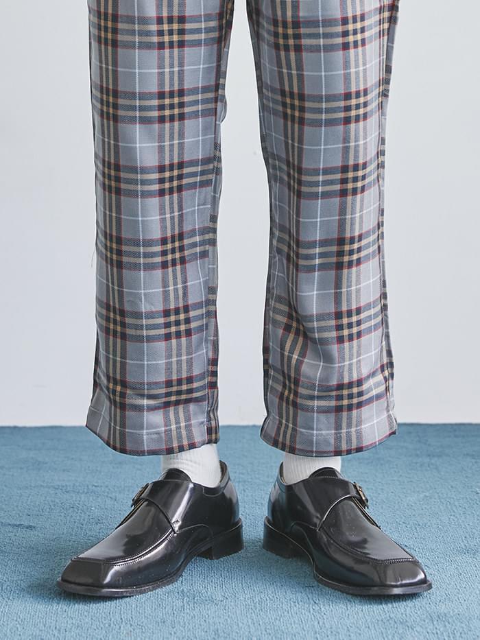 cow hide square monk strap shoes - men