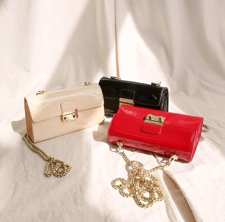LUSY ENAMEL LEATHER MINI BAG