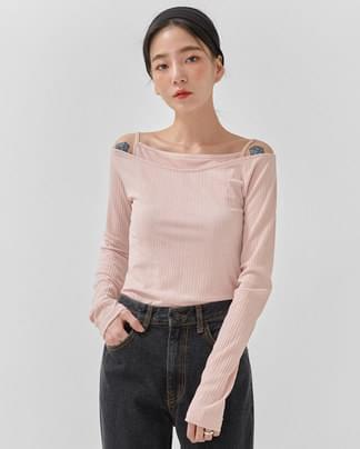 milky color sleeveless set T