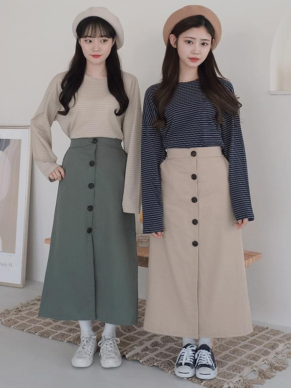 Camille Button Long Skirt