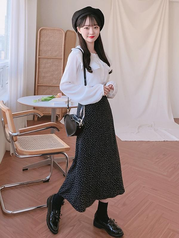 Petal dot long skirt