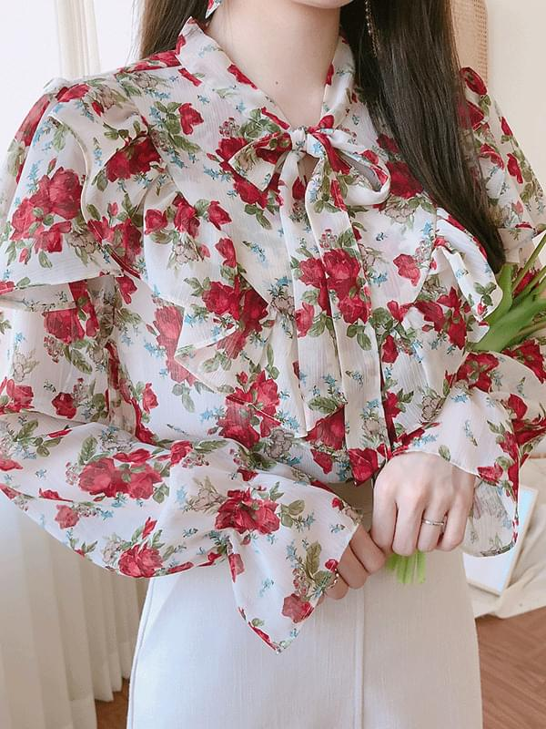 Cherry Flower Ribbon Blouse
