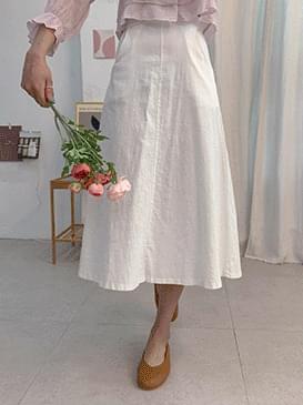 Linen coin flared skirt