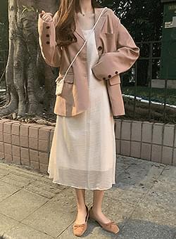 Pink beige loose-fitting jacket