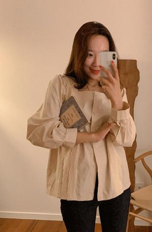 Beige punching square neck blouse