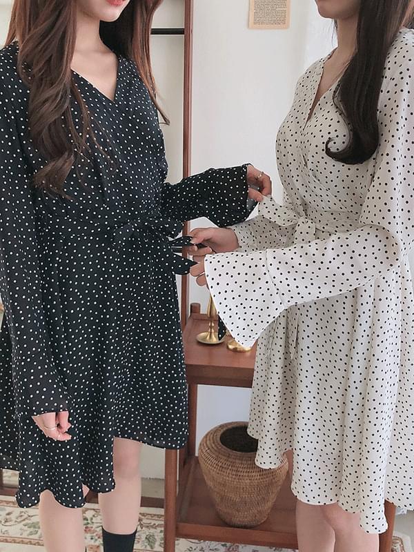 Dot V Neck Ribbon Dress
