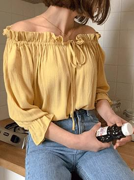 Ribbon Melody Off-Shoulder Blouse