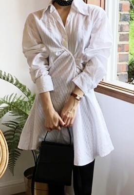韓國空運 - Shirring Raid Shirt Dress 及膝洋裝