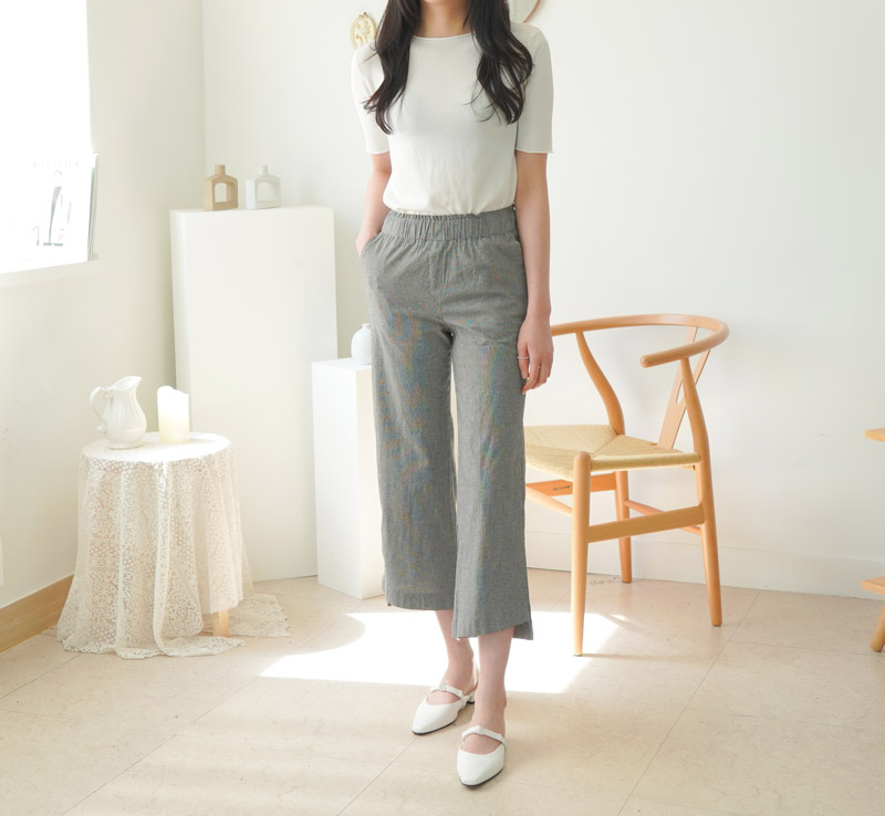 Velor Check Wide Bending Pants