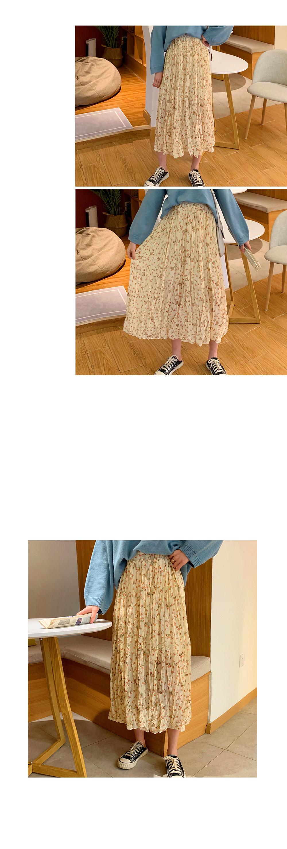 Darling flower wrinkle skirt