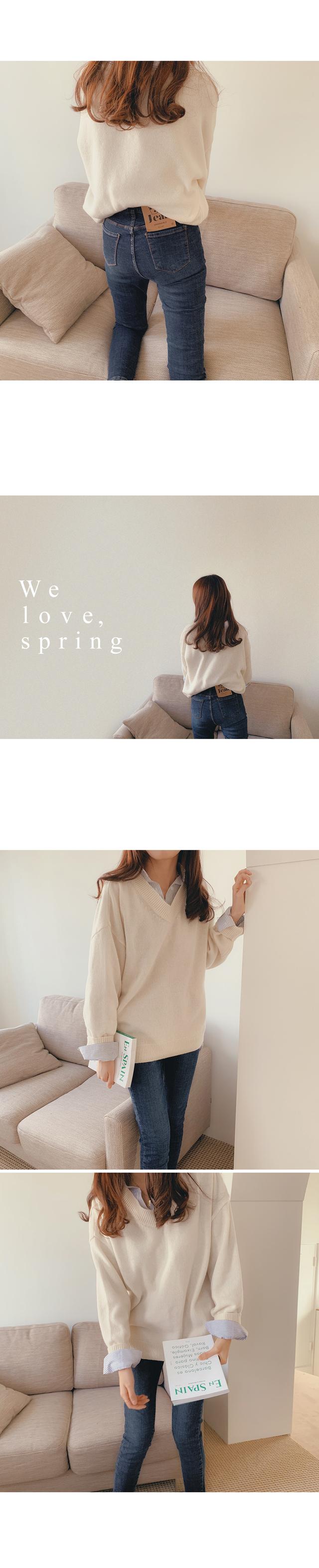Spring V Neck Wool Knit