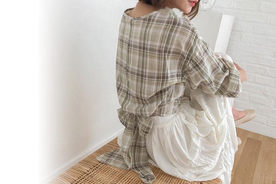 Ribbon checkered jelly blouse