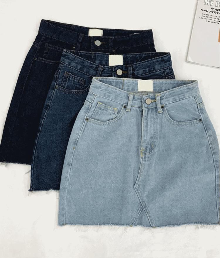 A line denim cut skirt