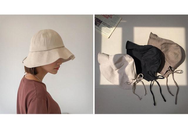Linen lacy ribbon bucket hat