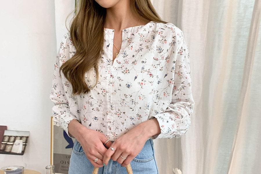 Linen maple flower blouse