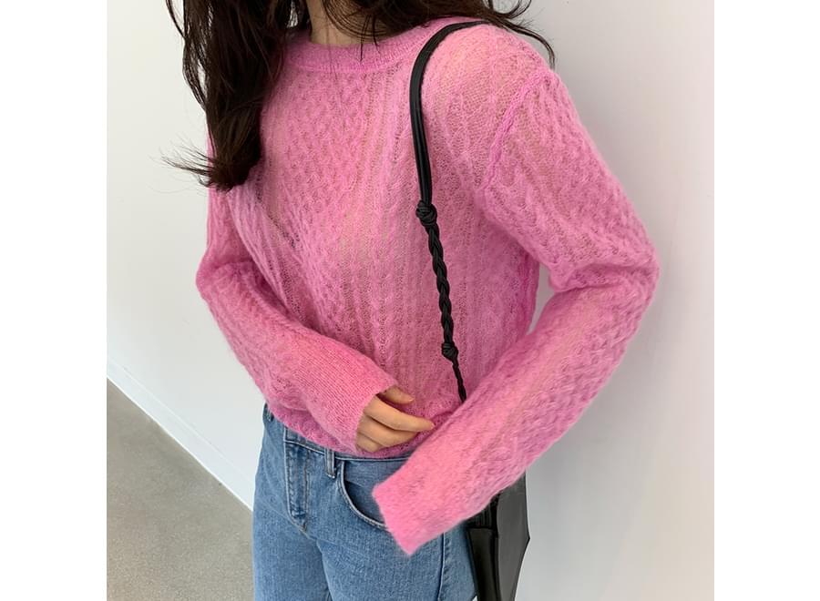 Curl hair see-through knit_Y