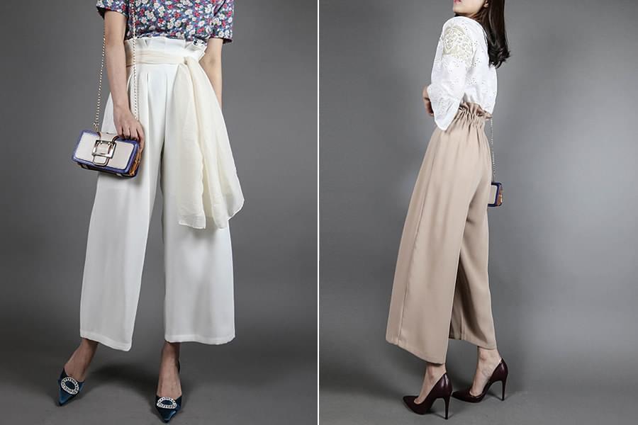 Pin tuck high waist banding wide pants _pt03057