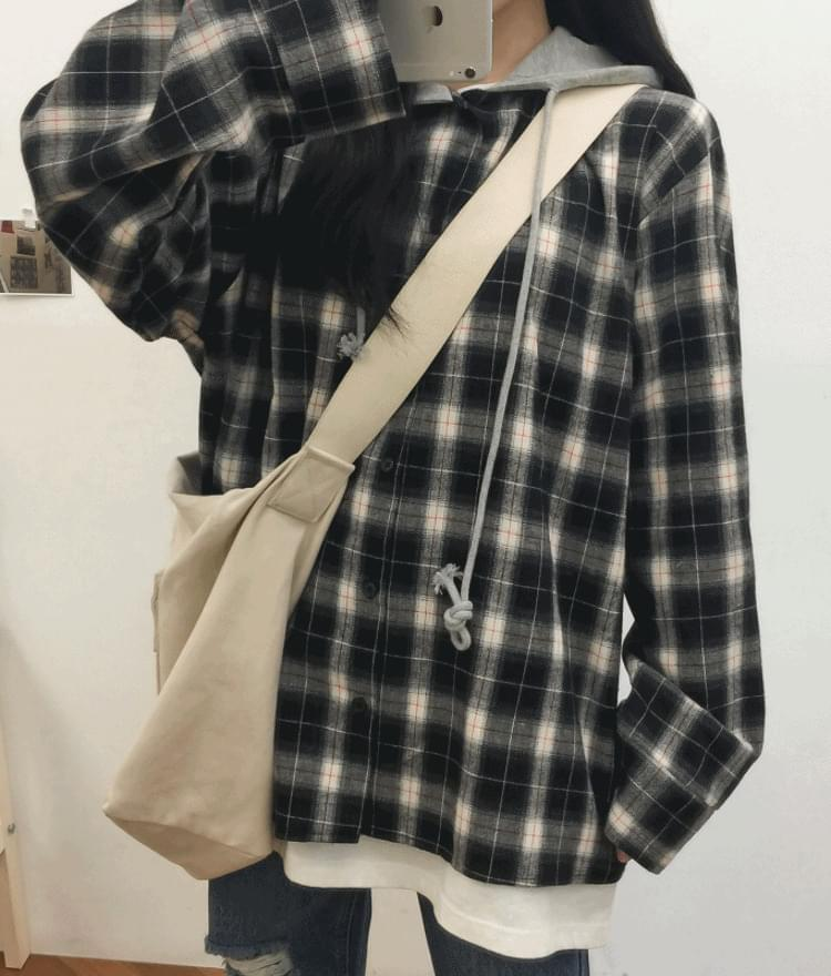 Unique Checked Hooded Shirt