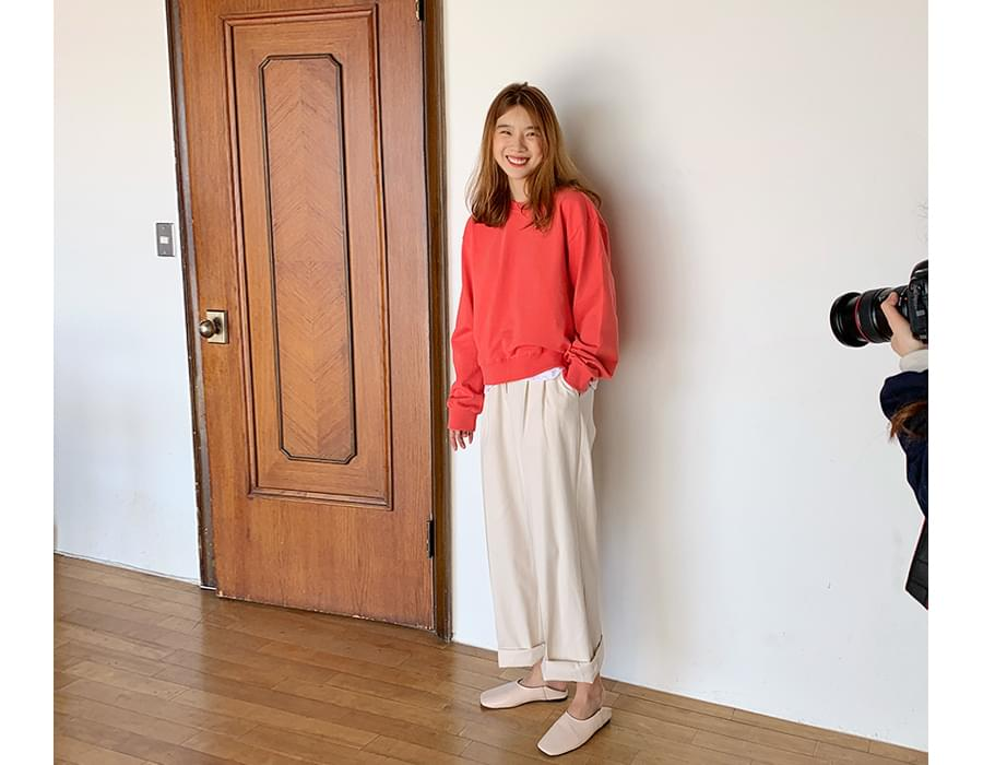 Wide cotton pin-tuck pants_S