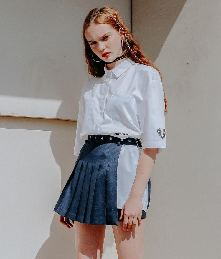 Lonely Point Mix Shirts Lonely Layard Tennis Skirt Belt SET