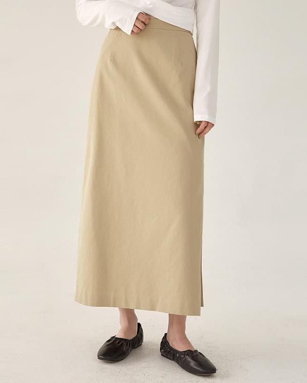 one side slit long skirt (s, m)