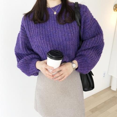 Purple Round Knit